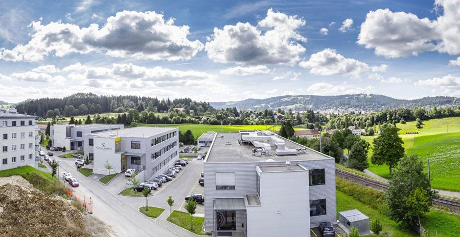 Die Gebäude von Schwarz Etienne in La Chaux-de-Fonds