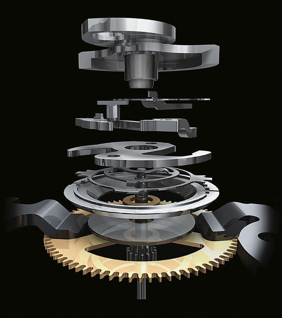 Eine vertikale Kupplung verhindert das ruckhafte Starten des Chrono-Sekundenzeigers