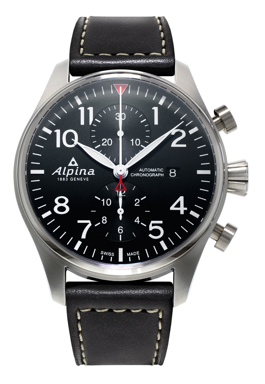 Alpina: Startimer Pilot Automatic Chronograph mit schwarzem Zifferblatt