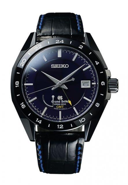 Seiko: Grand Seiko Black Ceramic Limited Edition Spring Drive GMT SBGE039 mit schwarzem Lederarmband