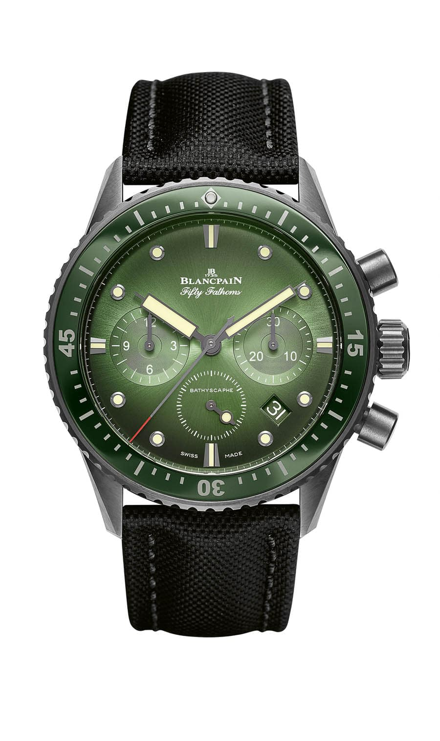 Blancpain Fifty Fathoms Bathyscaphe Chronograph Flyback Green Dial