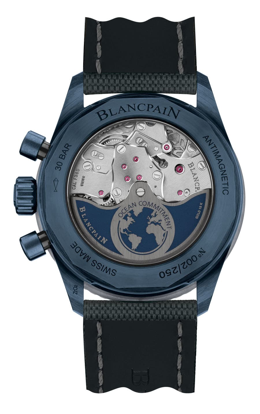 Blancpain: Flyback Chronograph Fifty Fathoms Bathyscaphe Ocean Commitment II Rückseite