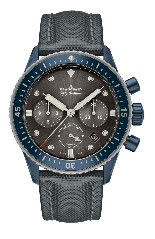 Blancpain: Flyback Chronograph Fifty Fathoms Bathyscaphe Ocean Commitment II, Zifferblatt