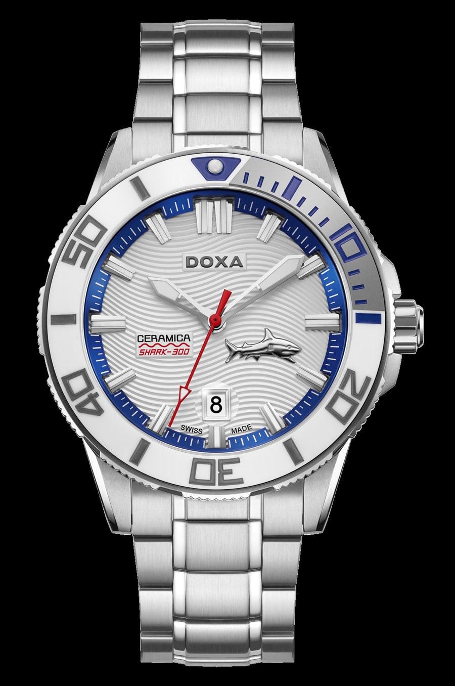 Doxa: Shark Ceramica L mit weißem Zifferblatt