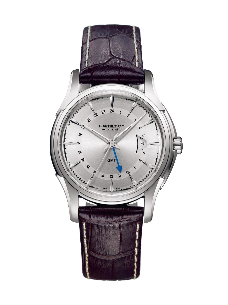 Dank des Eta-Kalibers 2893, in dem die Funktion der zweiten Zeitzone bereits integriert ist, werden GMT-Uhren auch für relativ kleines Geld angeboten. Hier die Jazzmaster Traveler GMT von Hamilton