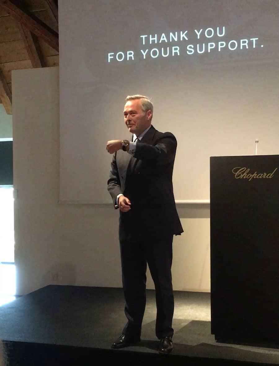 Karl-Friedrich Scheufele, Co-Präsident von Chopard, präsentiert die L.U.C Full Strike
