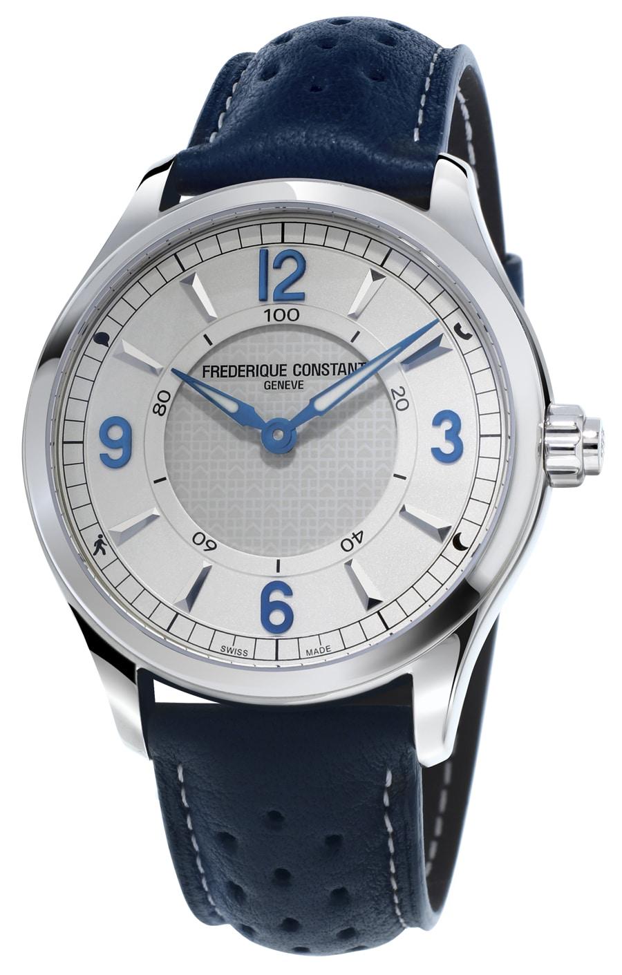 Frédérique Constant: Horological Smartwatch mit silber-blauem Zifferblatt