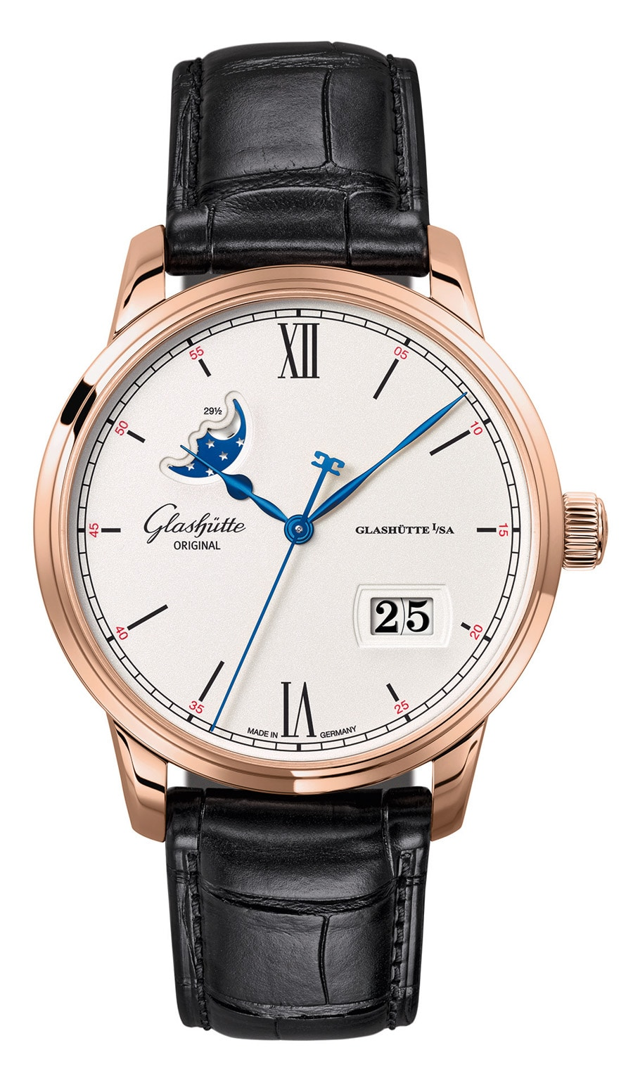 Glashütte Original: Senator Excellence Panoramadatum Mondphase in Rotgold