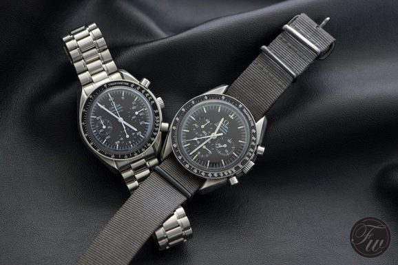 Omega Speedmaster Reduced (links) vs. Omega Speedmaster Professional Moonwatch (rechts)