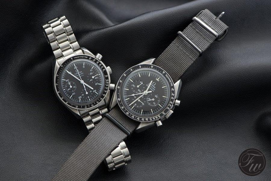 Omega Speedmaster Reduced (links) vs. Omega Speedmaster Professional Moonwatch (rechts)