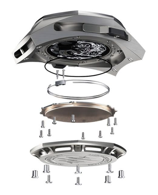 Tonfedern, Resonanzboden, Boden mit Schalllöchern der Royal Oak Concept Supersonnerie