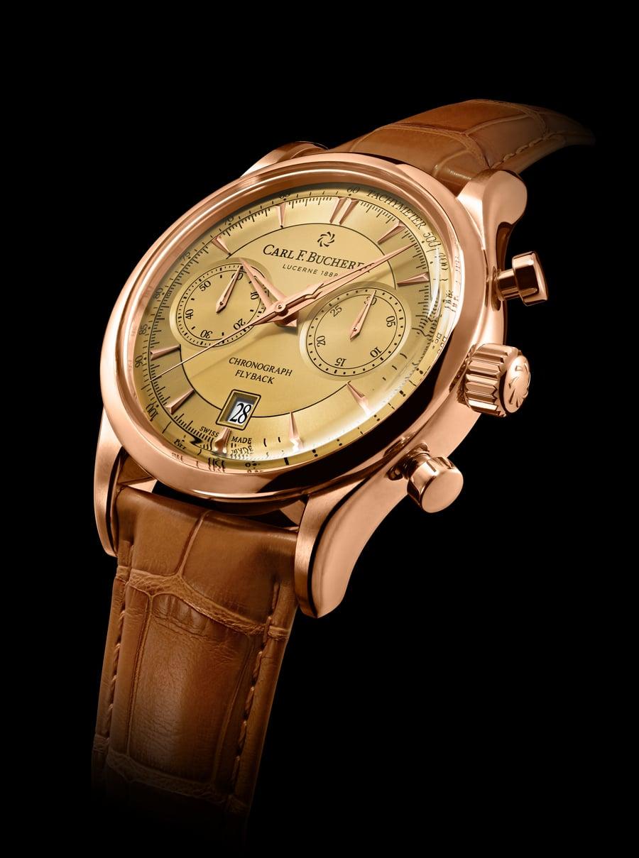Carl F. Bucherer: Manero Flyback in Gold mit champagnerfarbenem Zifferblatt