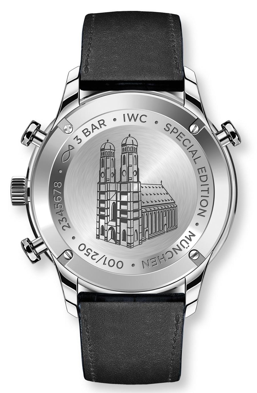 Die Frauenkirche, das Wahrzeichen der Stadt München, ist auf den Boden der IWC Portugieser Chronograph Rattrapante Boutique Munich graviert
