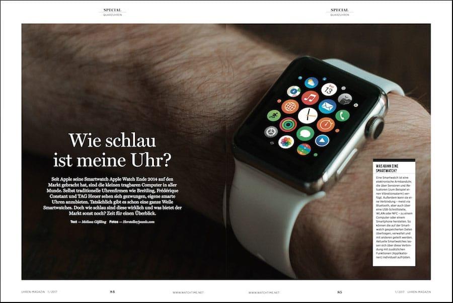 Smartwatches im UHREN-MAGAZIN 1/2017