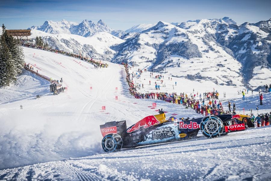 Max Verstappen während des F1-Showrennens am Hahnenkamm in Kitzbühel