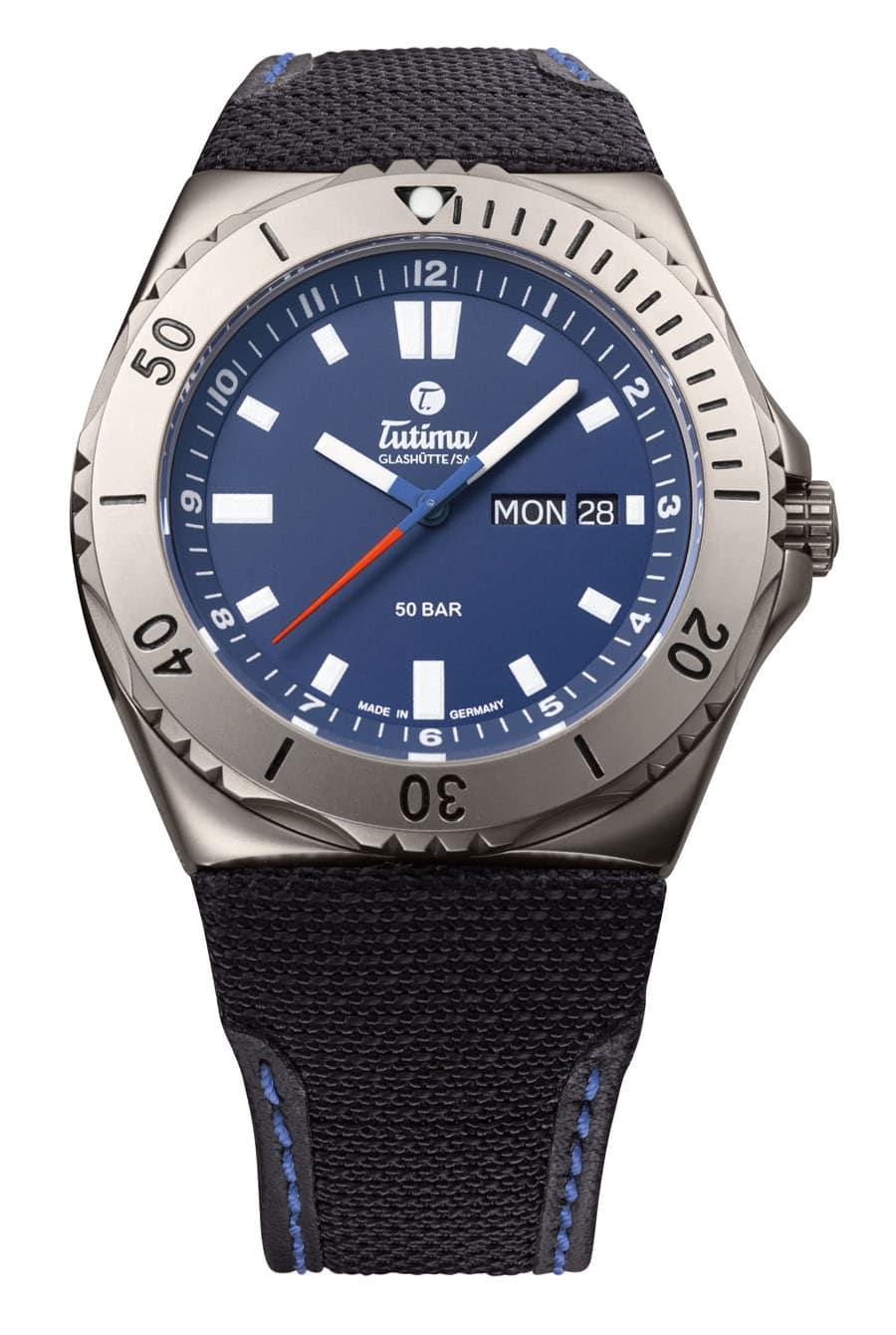 Tutima M2 Seven Seas, Zifferblatt tiefblau, mit Kevlarband