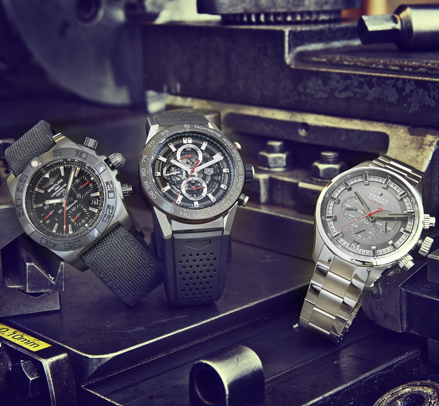 Chronographenvergleich: Breitling Chronomat Blacksteel, TAG Heuer Carrera Heuer 01 und Zenith El Primero Sport