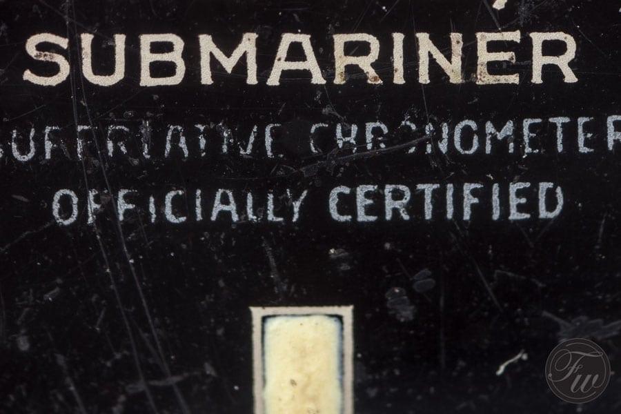 Die Zeit geht an Uhren nicht spurlos vorüber: Zifferblatt-Detail einer Vintage Submariner von Rolex