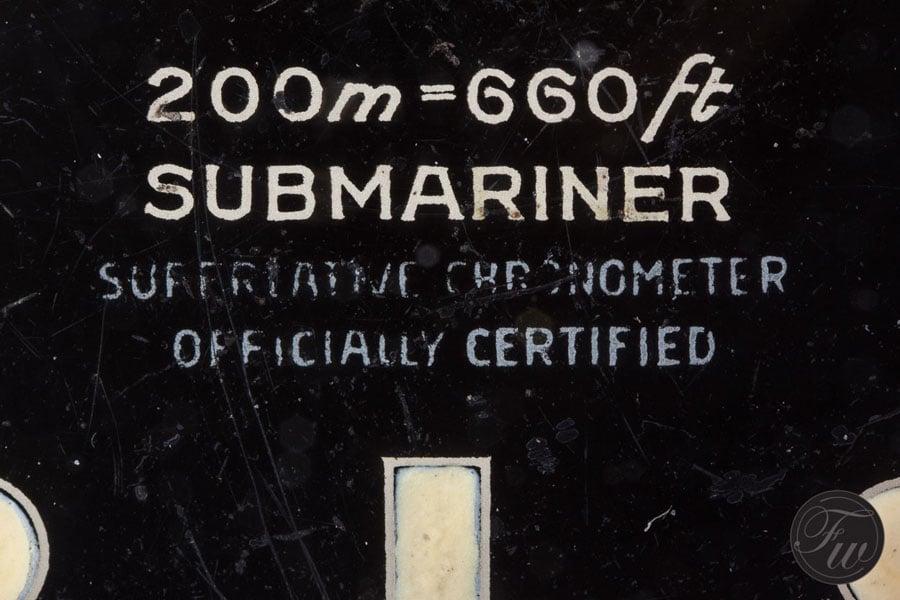 Vierzeiliger Chronometerschriftzug der Vintage Submariner Referenz 5512 von Rolex