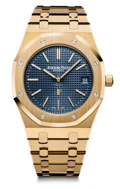 Audemars Piguet: Royal Oak extraflach in Gelbgold mit blauem Zifferblatt