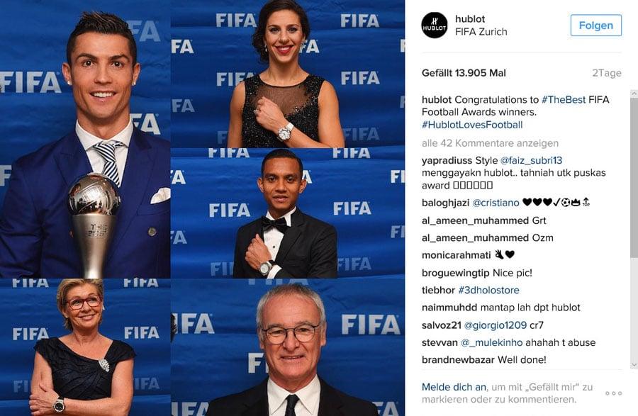 Hublot postet auf Instagram ein Foto von der Fifa-Gala 2017