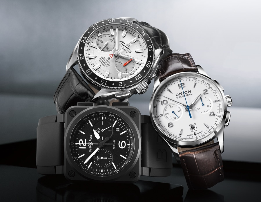 Download: Bicompax-Chronographen von Alpina, Bell & Ross, Union Glashütte im Vergleich
