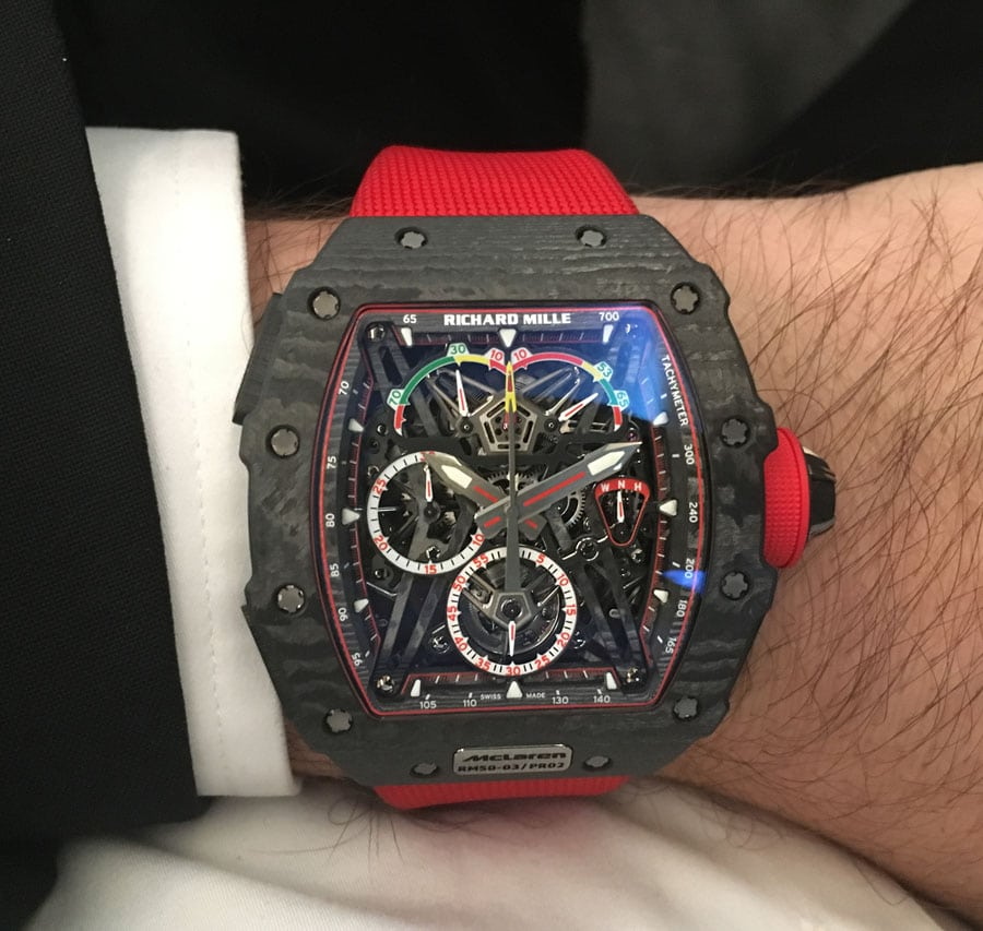 Wristshot des Richard Mille RM-50-03 Tourbillon Split Seconds Chronograph Ultralight McLaren F1
