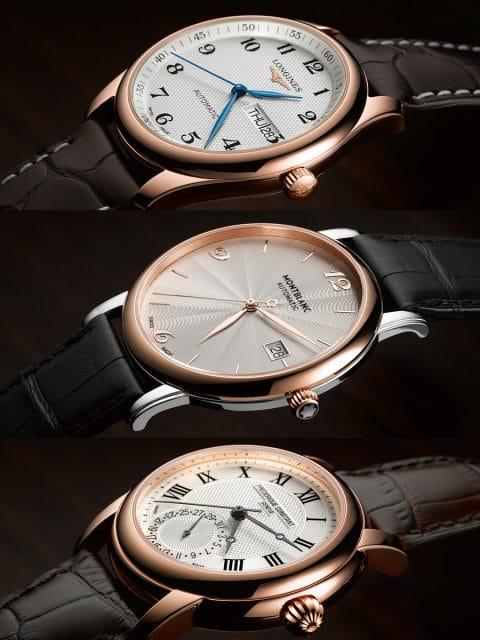 Das UHREN-MAGAZIN vergleicht drei elegante Uhrenmodelle von Frédérique Constant, Longines und Montblanc