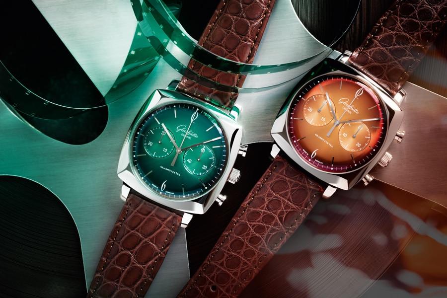 Die Glashütte Original Sixties Iconic Square gibt es in fünf Farbvarianten; hier in Forest und Tangerine