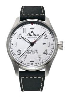 Alpina: Startimer Pilot Automatic in Edelstahl mit weißem Zifferblatt
