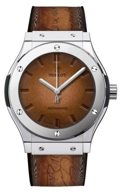 Hublot: Classic Fusion Berluti Scritto Platinum mit Zifferblatt und Armband aus Leder