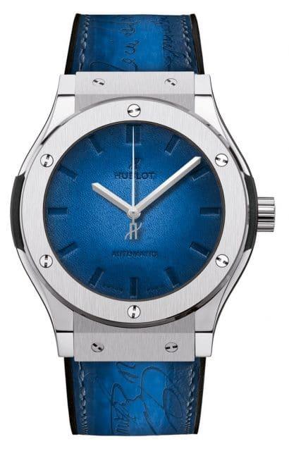 Hublot: Classic Fusion Berluti Titanium Scritto Ocean Blue