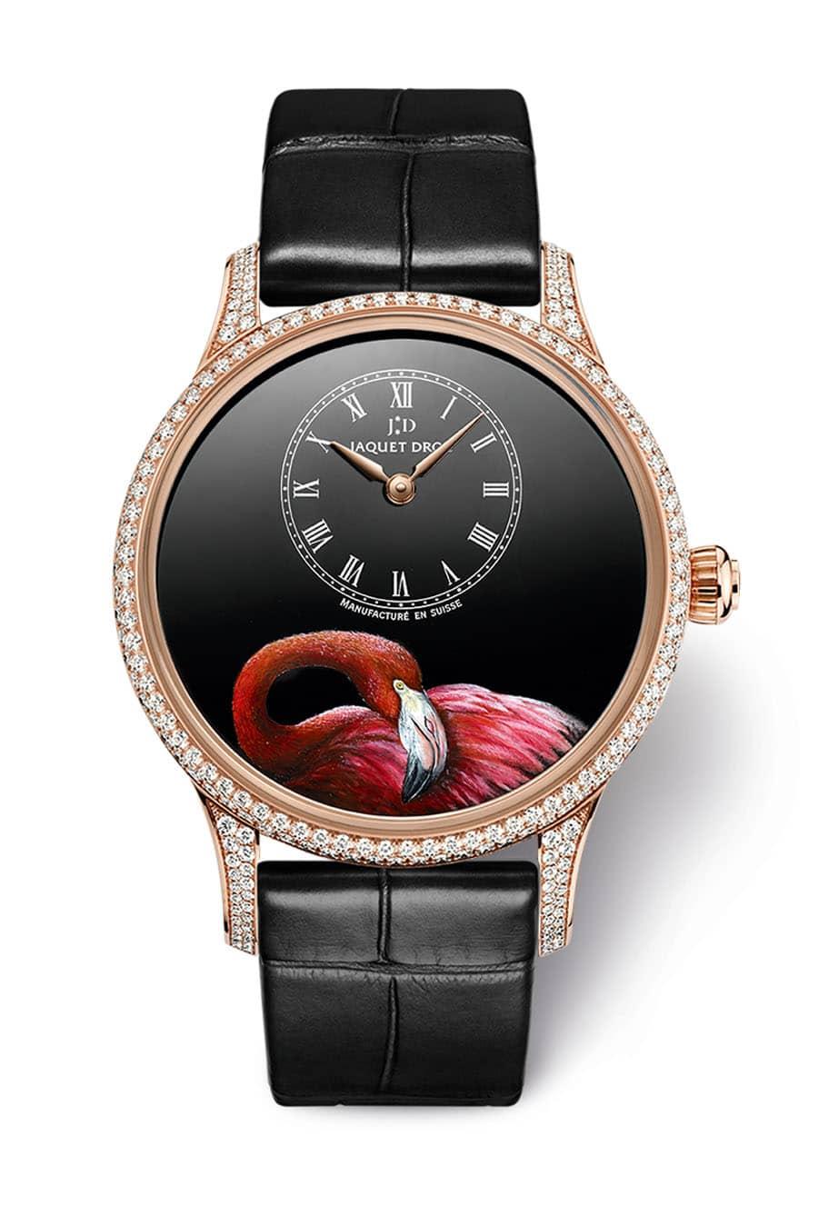 Jaquet Droz: Petite Heure Minute Pink Flamingo