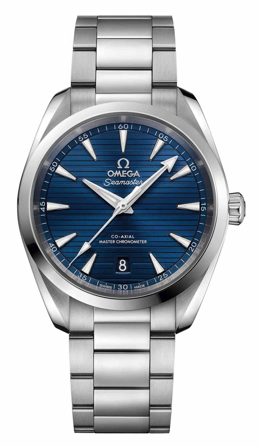 Die Omega Seamaster Aqua Terra Master Chronometer in Edelstahl mit blauem Zifferblatt gewinnt mit 1.400 Stimmen (9,2 Prozent) den <strong>dritten Platz</strong> in der Kategorie C der Goldenen Unruh 2018.