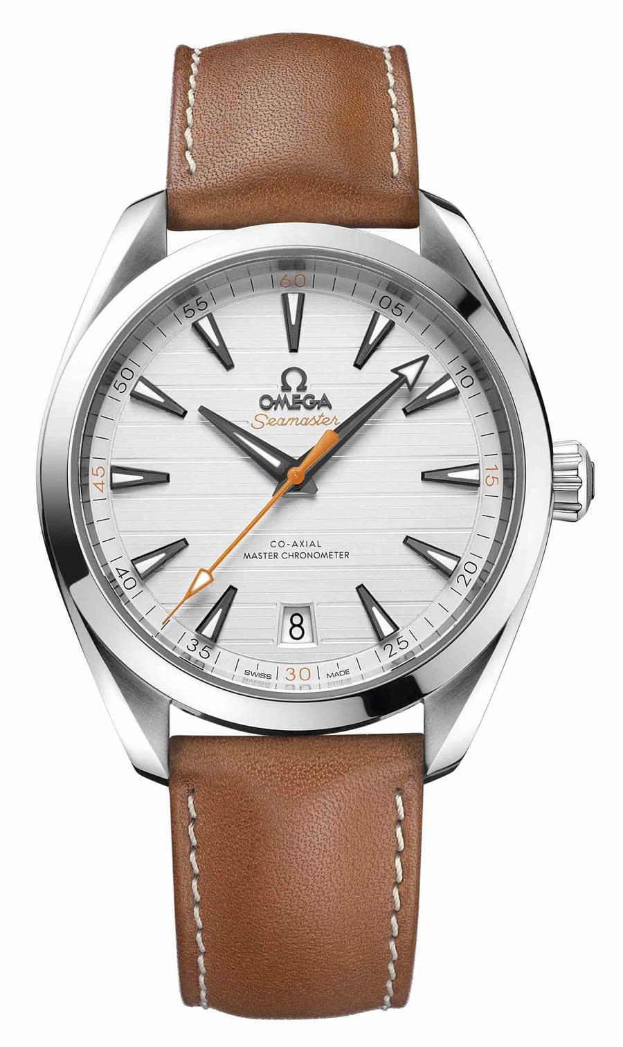 Omega: Seamaster Aqua Terra Master Chronometer in Edelstahl an braunem Lederband