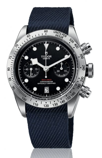 Tudor: Heritage Black Bay Chrono mit Textilband in Denim-Optik