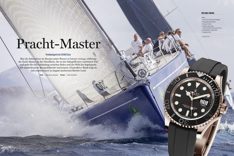 Die Rolex Yacht-Master ist der Inbegriff einer maritimen Uhr, besonders mit dem neuen Oysterflex-Band. Mit ihrer mattschwarzen Lünette macht sie auch beim Landgang ein gute Figur.