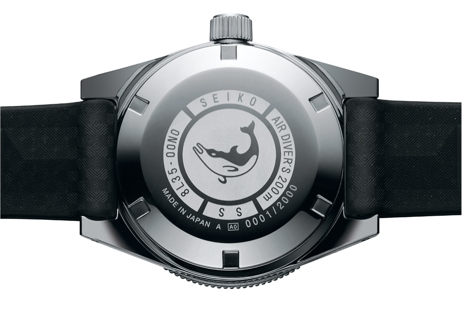 Seiko First Diver's Re-creation Limited Edition: Gehäuseboden mit Delfinsymbol