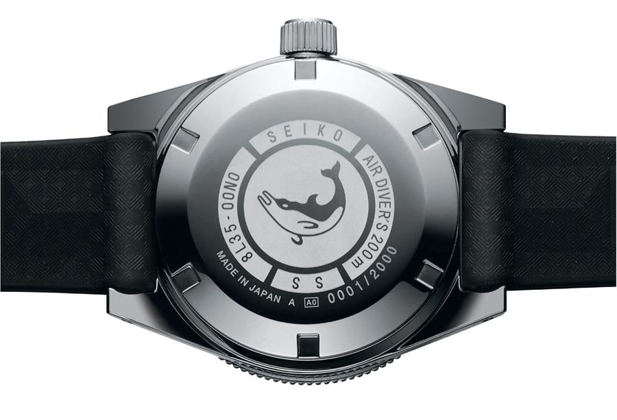 Seiko First Diver's Re-creation Limited Edition: Gehäuseboden mit Delfinsymbol