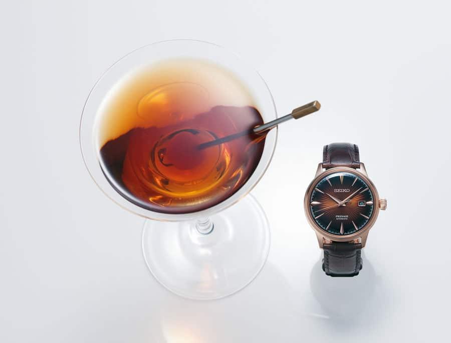 Die hohe Qualität der Seiko Presage trifft auf den Charme eines von einem guten Cocktail inspirierten Designs