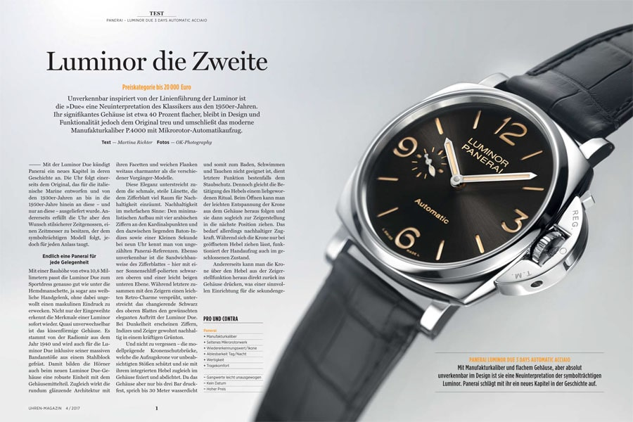 Aufmacher UHREN-MAGAZIN-Test der Panerai Luminor Due ´3 Days Automatic Acciaio