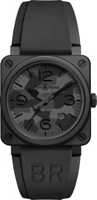 Die Bell & Ross BR 03-92 Black Camo mit Kautschukarmband