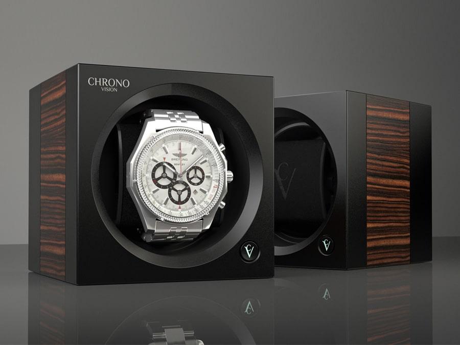 Der Uhrenbeweger ChronoVision One in mattschwarzer Teakholz-Optik kostet 649,90 Euro