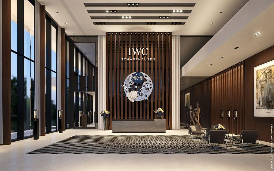 So soll die Empfangshalle des IWC-Neubaus aussehen (Rendering)