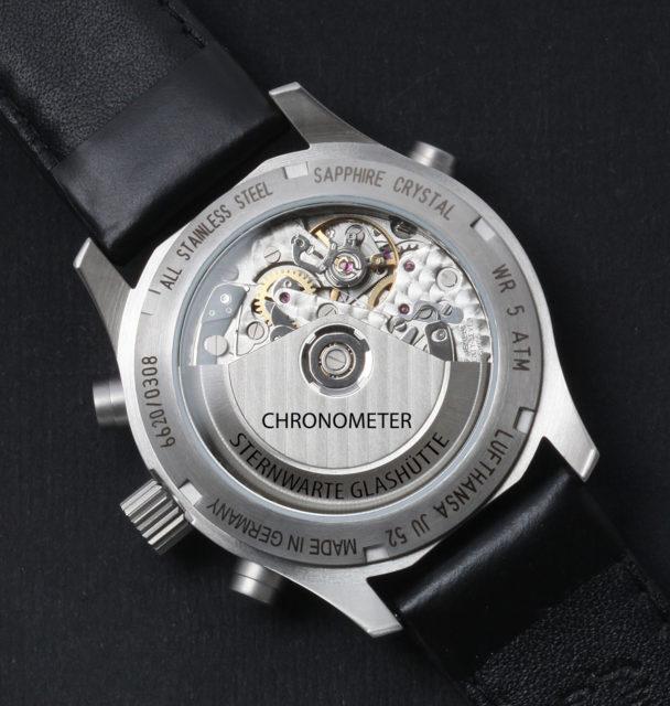 "Blick durch den Glasboden des Modells Ju52 D-Aqui Chronometer ""Sternwarte Glashütte"""