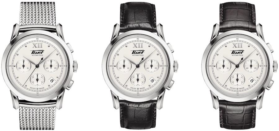 Tissot Heritage 1948 – Das Vorbild des neuen Chronographen stammt aus dem Jahr 1948. Er wird in zwei Versionen mit Lederarmband und mit Milanaisearmband angeboten.