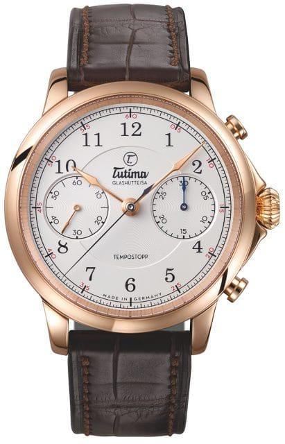Die Tutima Tempostopp ist mit dem Manufakturkaliber T659 ausgestattet. Der Handaufzugschronograph besitzt eine Flyback-Funktion.