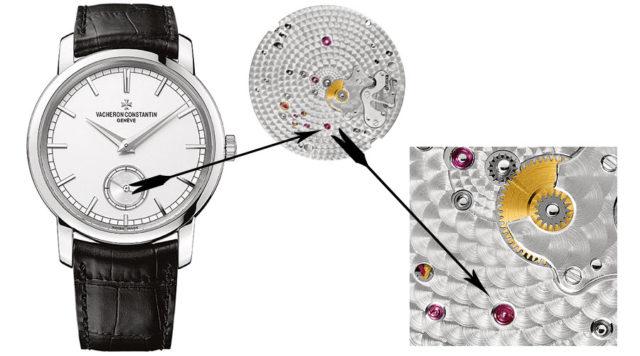 Die kleine Sekunde: Hier im modernen Uhrwerk 4400 von Vacheron Constantin in der Patrimony. Zu erkennen ist, wie die Sekundenradwelle durch die Grundplatte des Uhrwerks bis auf das Zifferblatt geführt wird.