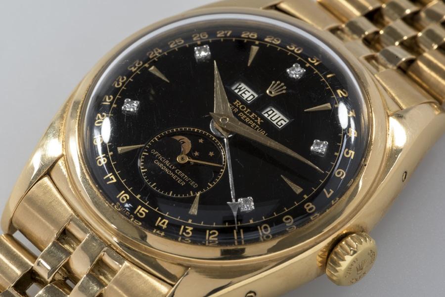 """Das schwarze Zifferblatt und die Position der Diamantindexe machen die Rolex 6062 """"Bao Dai"""" zum Unikat"""