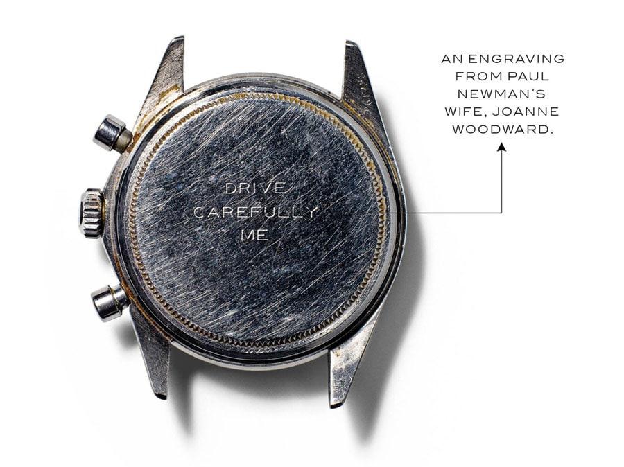 Gravur auf dem Gehäuseboden der Rolex Daytona von Paul Newman (Foto: Wall Street Journal)